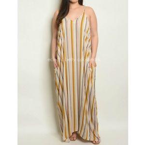 Love In Mustard Multicolor Stripe Harem Maxi Dress